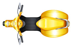 A yellow scooter. Illustration of a yellow scooter on a white background Stock Image
