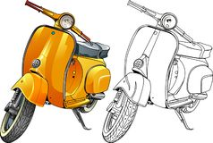 Yellow scooter. Vector illustration, yellow scooter and in line version royalty free illustration