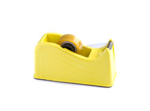 Yellow scotch tape holder isolated Royalty Free Stock Images