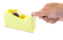 Yellow scotch tape holder isolated Royalty Free Stock Image