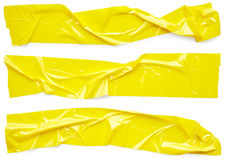 Yellow scotch tape. Set of yellow scotch tape isolated on white background Royalty Free Stock Photography