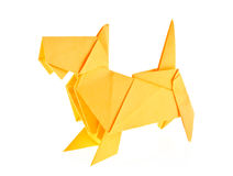 Yellow scotch terrier of origami. Royalty Free Stock Photos