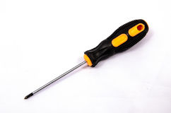 Yellow screwdriver. Isolated on white background Royalty Free Stock Photo