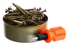 Screws in a can Royalty Free Stock Image