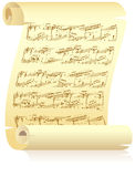 Yellow scroll with musical notation Royalty Free Stock Photos