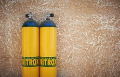 Yellow scuba tanks with nitrox Royalty Free Stock Photo