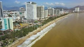 Yellow Sea Beach and People Gather Garbage Panorama. Panoramic view Yellow sea beach and people gather garbage carried ashore after powerful hurricane against stock video