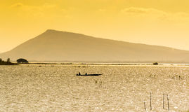 Yellow  sea. Beautiful golden sunset on the sea, Thailand Stock Photos