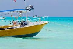 Yellow sea boat Stock Photos