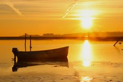 Yellow sea at sunset so lovely. In February stock images