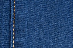 Yellow seam on denim Royalty Free Stock Photos