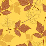 Yellow seamless background with leaves-01 Royalty Free Stock Image