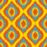 Yellow Seamless Camouflage Ogee in Ikat Weave Background Pattern vector Stock Photography