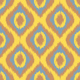 Yellow Seamless Camouflage Ogee in Ikat Weave Background Pattern vector Stock Images