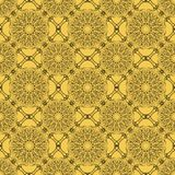 Yellow seamless decorative filigree lace patterns, black calligraphy drawing in classic victorian style. Fine vintage design, retr. O style vector EPS 10 Stock Photo