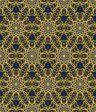 Yellow seamless decorative filigree lace patterns, calligraphy drawing in classic victorian style on black background. Fine vintag Stock Photo