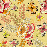 Yellow seamless floral pattern Royalty Free Stock Image