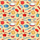 Yellow seamless pattern cartoon kitchen ware Royalty Free Stock Photography