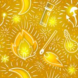 Yellow seamless pattern with doodle outline with luminous elements.  Stock Photo