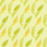 Yellow seamless pattern with ears of wheat. Royalty Free Stock Photography