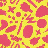 Yellow seamless pattern with hand drawn doodle stock illustration