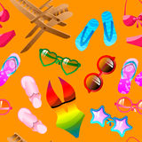 Yellow Seamless Summer Pattern. Seamless summer pattern with flip-flop, glasses, deck-chair, swimming suit Stock Illustration