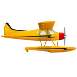 Yellow seaplane. Airplane on white background. Isolated object. Vector Image. Yellow seaplane. Airplane on white background. Isolated object. Vector Royalty Free Stock Photography