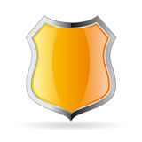 Yellow secure shield icon Royalty Free Stock Images