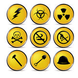 Yellow security icons Stock Photos
