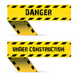 Yellow security warning tapes set Caution Royalty Free Stock Photography