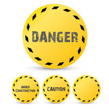 Yellow security warning tapes set Caution Stock Images