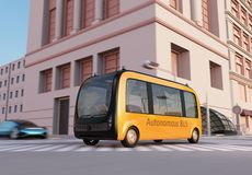 Yellow self-driving shuttle bus is driving through an intersection. 3D rendering image vector illustration