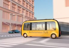 Yellow self-driving shuttle bus is driving through an intersection. 3D rendering image stock illustration