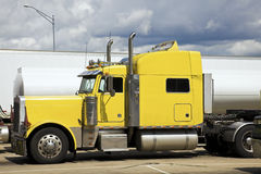 Yellow Semi Truck Stock Photo