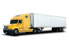Yellow Semi Truck. A Big Yellow Semi Truck Isolated on White Stock Image