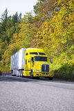 Yellow semi truck and reefer trailer driving uphill autumn road. Bright yellow popular modern and comfortable semi truck with a refrigerator trailer for royalty free stock photography