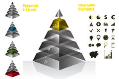 Yellow set of isometry symmetrical pyramid charts, diagram 5 levels with glass texture. Elements infographics. Vector Stock Images