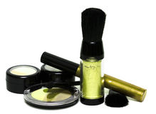 Yellow set for make-up. Eyeshadows, rouge, blusher and gloss Stock Image