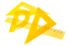 Yellow set of measuring tools Stock Image