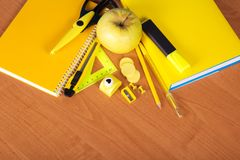 Yellow set of office tool Stock Photography