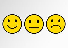 Yellow set of smileys. Smileys emoticons icon positive, neutral and negative. Vector illustration vector illustration
