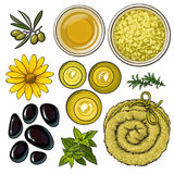 Yellow set of spa salon accessories - basalt stones, massage oil, towel, candles, aromatic salt Stock Photo