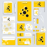 Yellow set of vector corporate identity template. Modern business stationery mock-up. Branding design with molecule logo Stock Photography