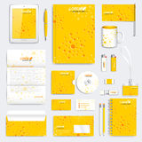 Yellow set of vector corporate identity template. Modern medical stationery mock-up. Branding design with molecule Stock Photo