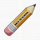 Yellow sharp wooden pencil and text Back to School. Stock Images