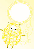 Yellow Sheep Easter Greeting Card. Stock Image