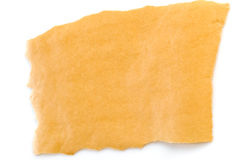 Yellow sheet of paper on a white background stock photography