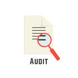 Yellow sheet with red magnifier like audit logotype Stock Image