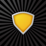 Yellow Sheild. Yellow Shield on a black burst background Stock Photography