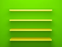 Yellow Shelves on Green Wall Background Royalty Free Stock Photography